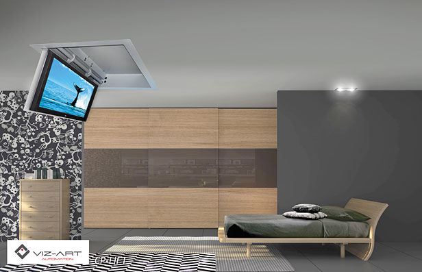 tv hidden in the ceiling ceiling lift for tv from viz art. Black Bedroom Furniture Sets. Home Design Ideas